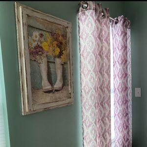 💜 Purple, Grey & White Curtain Set 💜 4 Panels